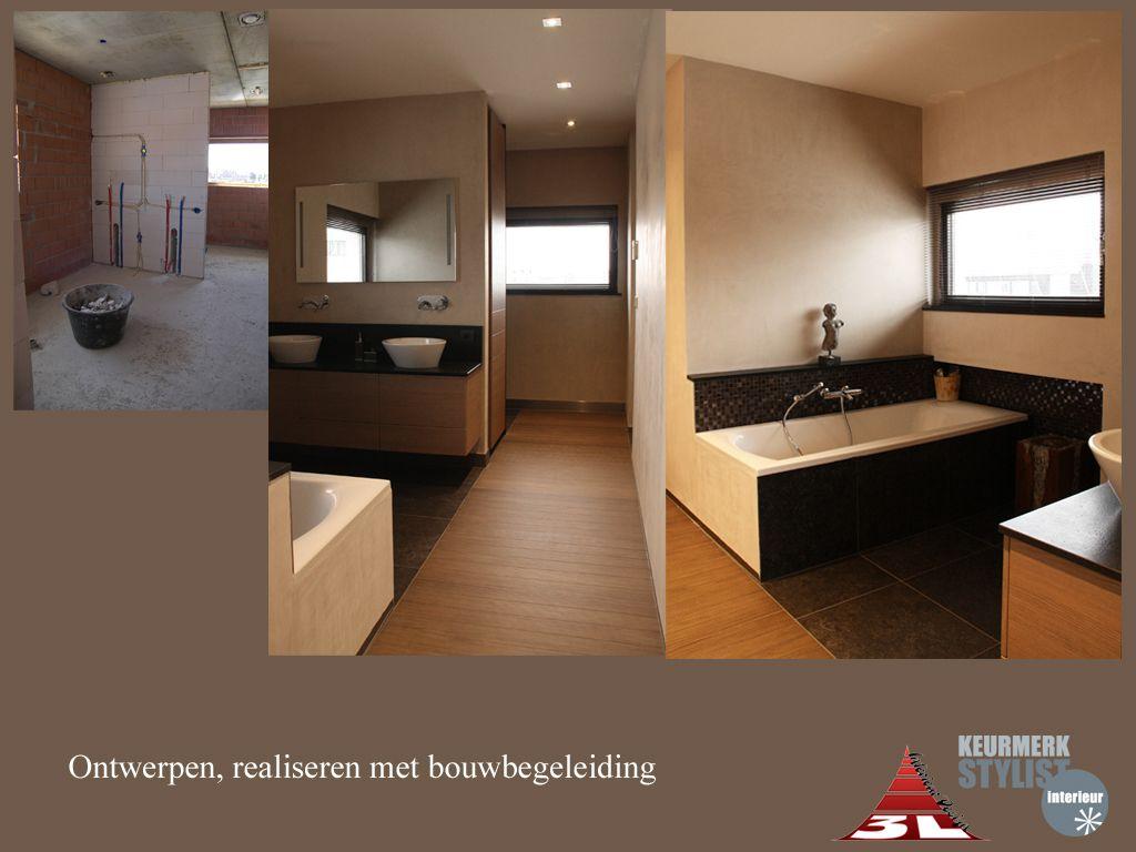 Ontwerpen van de badkamer met lichtplan, materaal gebruik ...