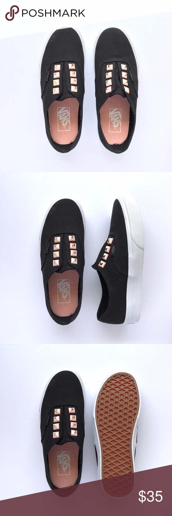 New Three Toned Studs Authentic Never been worn, black uppers, true white sole with tri-color pyramid studs. W/O box. Women's size 7 / Men's size 5.5 Vans Shoes Sneakers