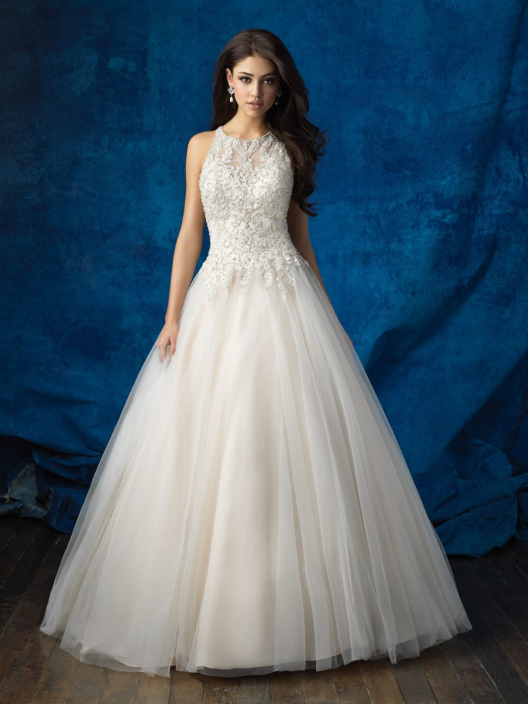 This Regal Ballgown Features A High Neck And Elegant Beadwork