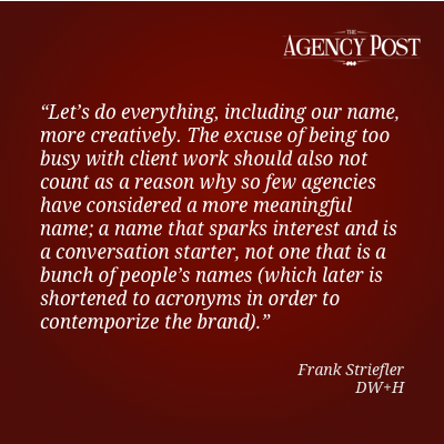 POV: Interview with Frank Striefler, Chief Strategy Officer at DW+H    http://www.agencypost.com/pov-interview-with-frank-striefler-chief-strategy-officer-at-dwh/