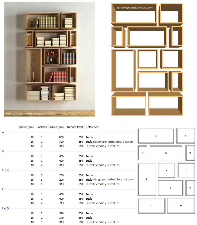 Dise o de muebles madera construir biblioteca de cubos for Muebles de biblioteca
