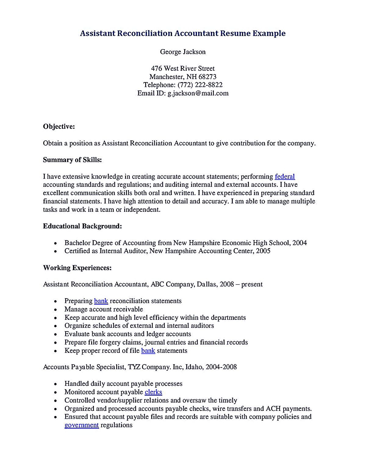 Objective Statement Resume Accounting