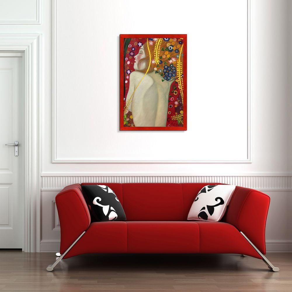 Lp La Pastiche 28 In X 40 In Sea Serpents Iv Modest Luxury Line With Stiletto Red Frame By Gustav Klimt Framed Wall Art Klg2997 Fr 8388124x36 Framed Wall Art Gustav Klimt