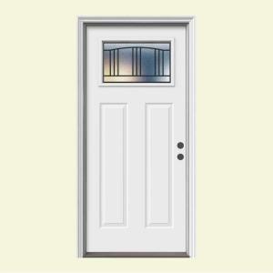 JELD-WEN Premium Madison Craftsman Primed Steel Entry Door with Brickmold-N11751 at The Home Depot