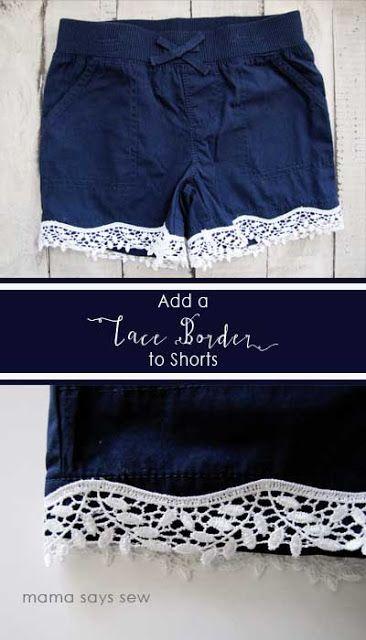 mama says sew: How to Add Lace Trim to Shorts | Sewing | Pinterest ...
