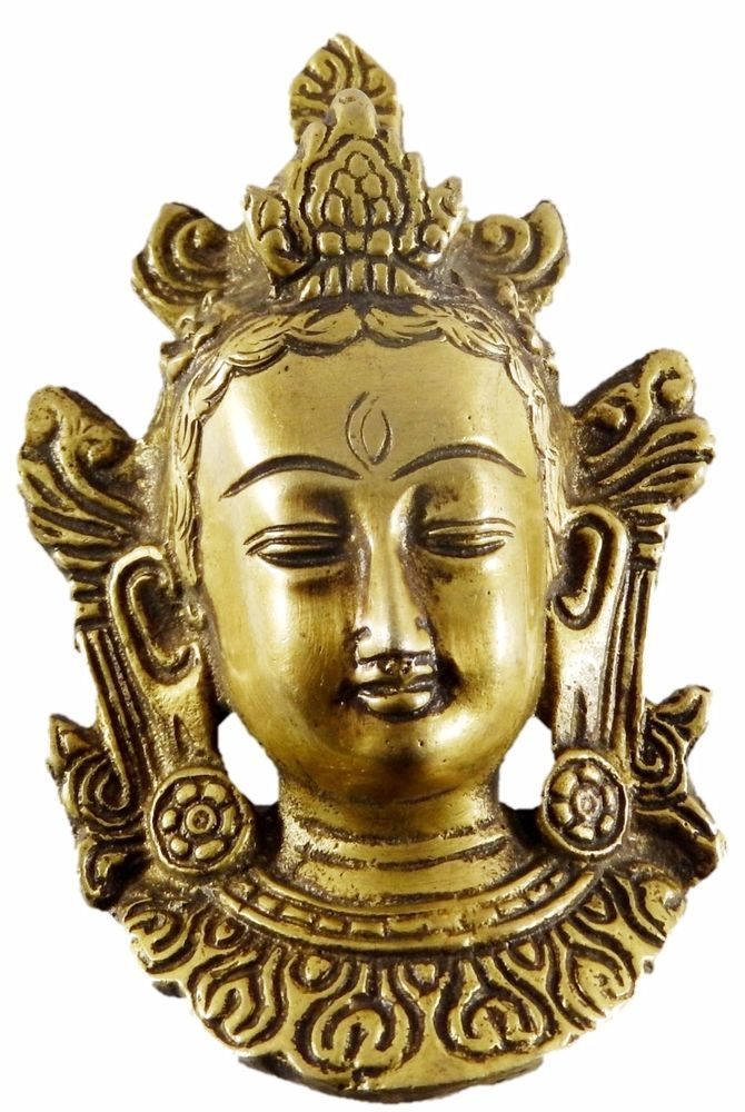 Buddhism Tibetan Buddha Face Wall Hanging Golden Brass Statue Idol ...