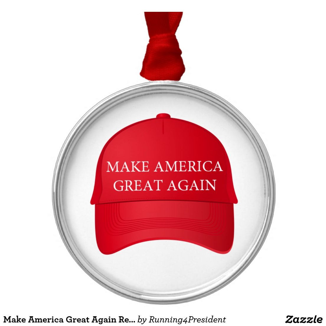 make america great again red cap collectible metal ornament