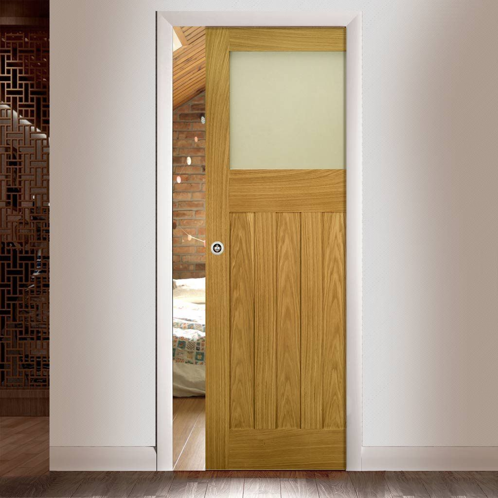 Deanta Single Pocket Cambridge Period Oak Door with Frosted Safety Glass Unfinished & Deanta Single Pocket Cambridge Period Oak Door with Frosted Safety ...