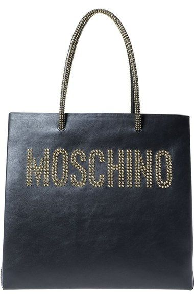 MOSCHINO Studded Logo Leather Tote.  moschino  bags  leather  hand bags   tote   08180e6dd2769