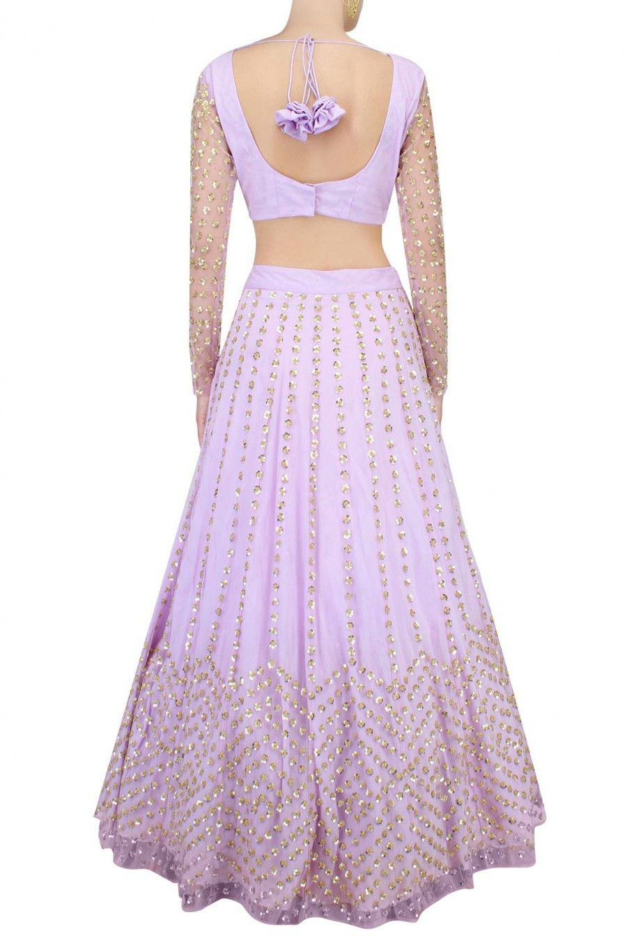 Lavender lehenga with golden sequin embroidery collection indian