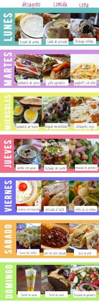 Menu De Una Semana Gratis Comidas Semanales Menu De Comidas Menu Saludable