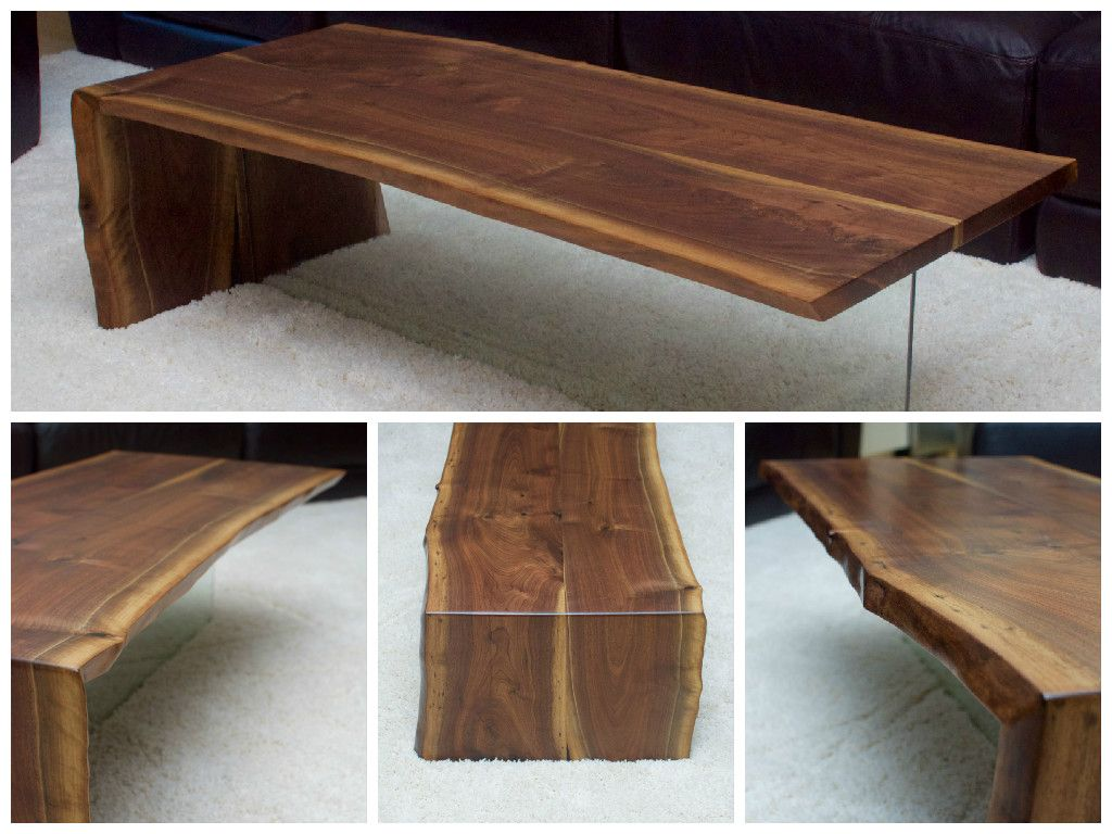 Live Edge Black Walnut Coffee Table With Slab Glass And Water Fall Legs Live Edge Wood Furniture Coffee Table Wood Coffee Table [ 768 x 1024 Pixel ]