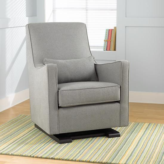 The Land Of Nod Nursery Gliders Heather Grey Upholstered Monte Luca Glider And Ottoman In Rockers