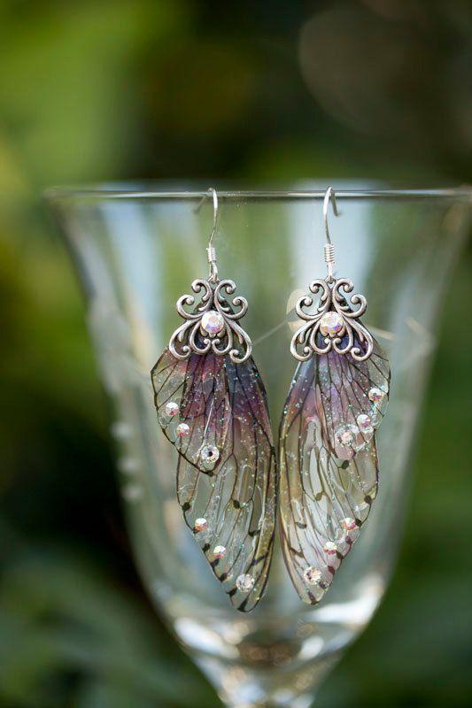 Zucker-Pflaume Fee Flügel Silber-Ohrringe #stampmaking