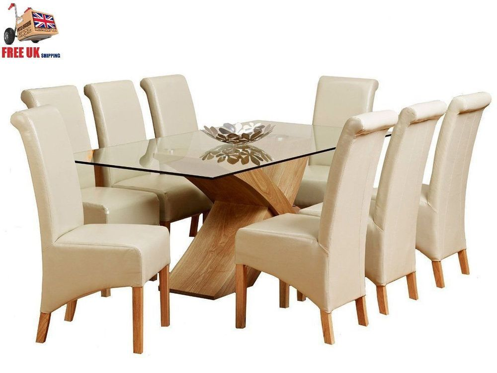 Glass Top Dining Table Set 8 Leather Chairs Wood Room Furniture