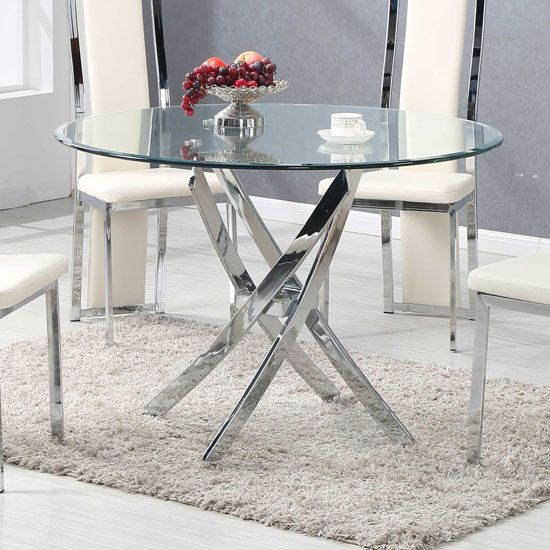Daytona Dining Table Round In Clear Glass With Chrome Legs Glass