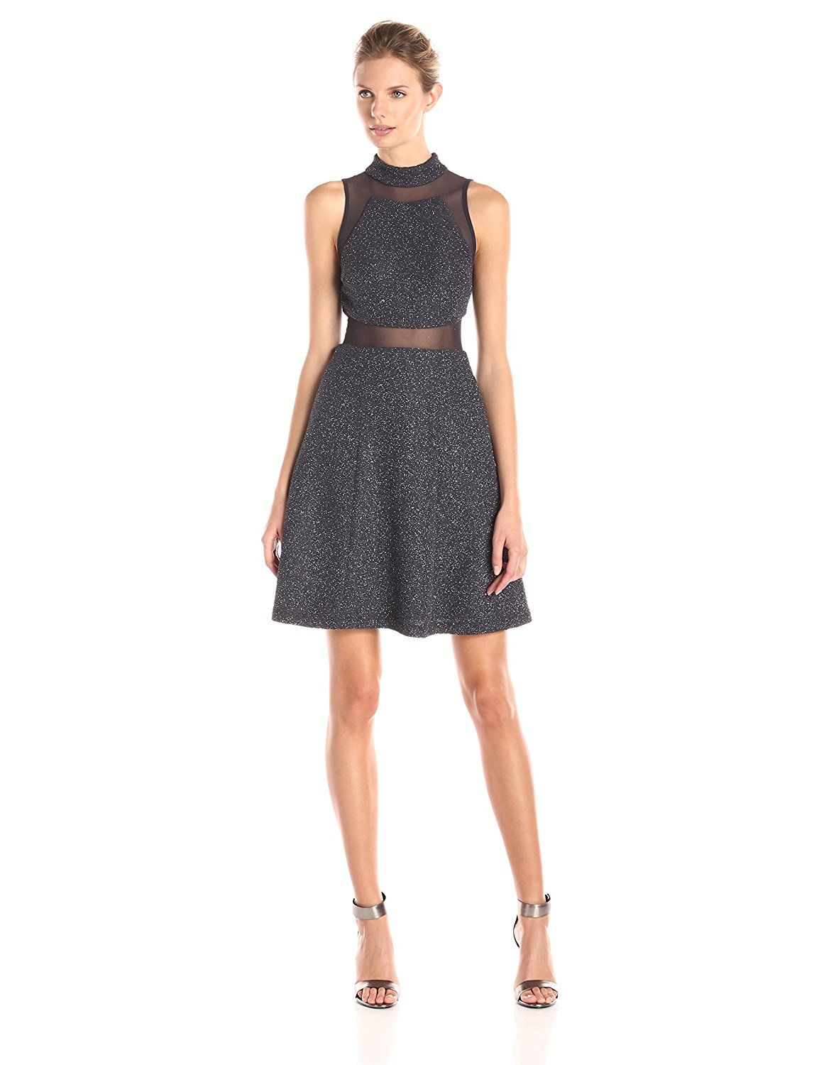 Betsy and adam womenus halter illusion fit and flare metallic dress