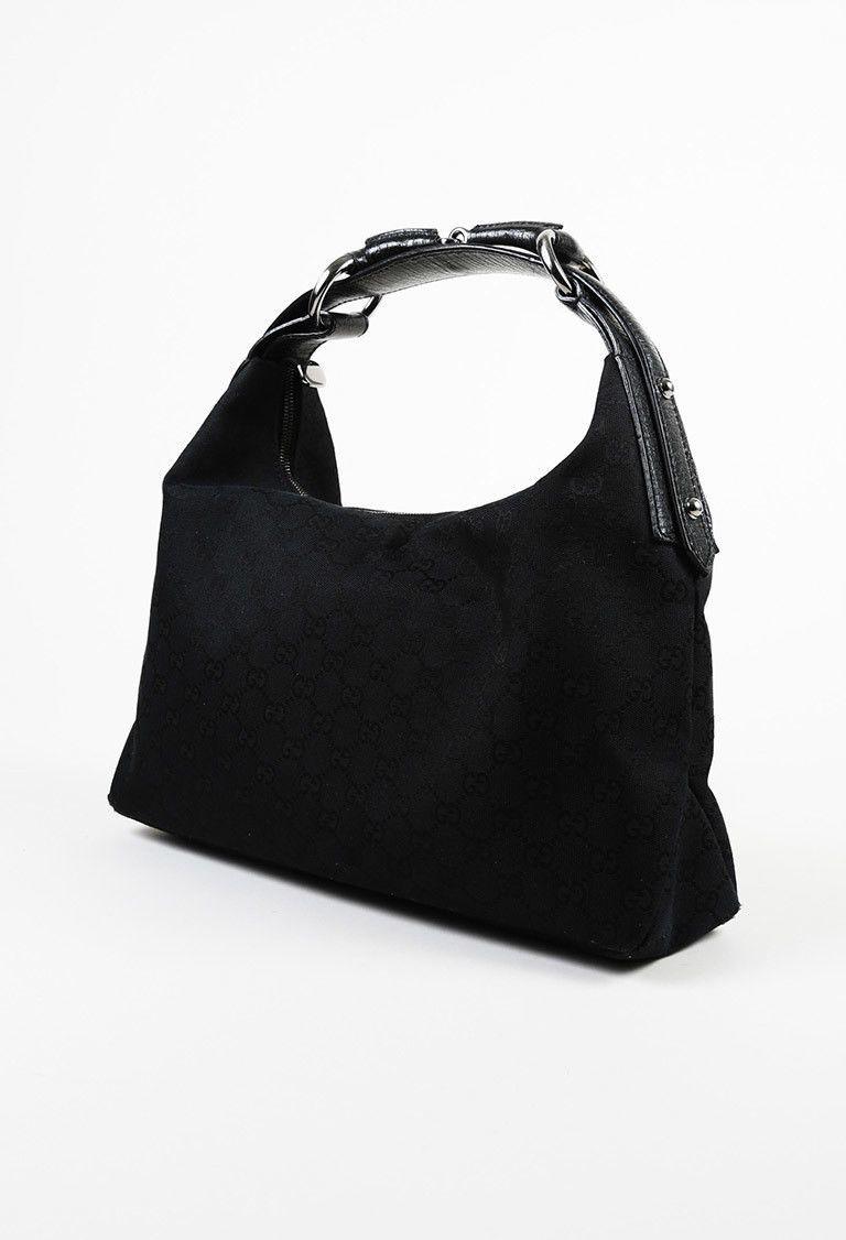aaafd0c4ba Details about Gucci Monogram GG Black Horsebit handle Canvas ...