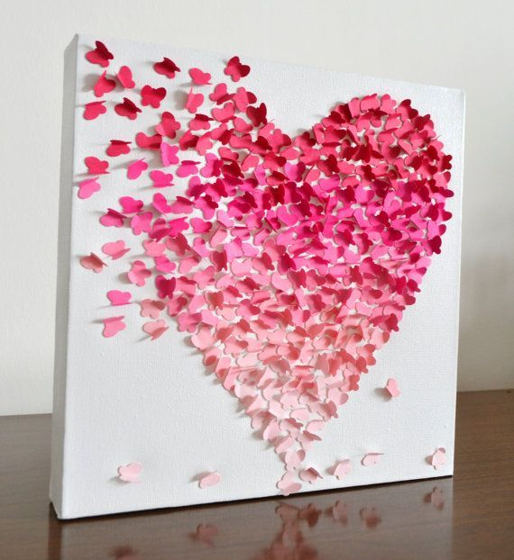 Pink Wall Decor 3d butterfly heart wall art - small pink ombre / nursery decor