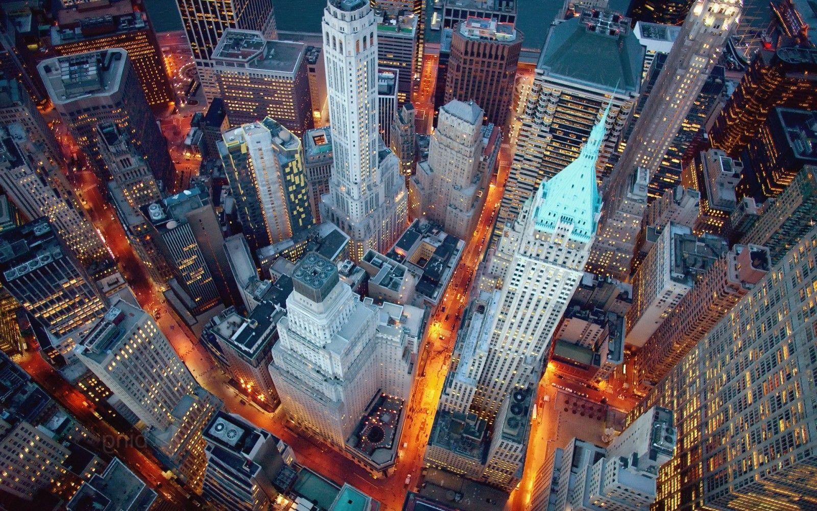 New York City Night Aerial View Wallpaper Aerial View New York Wallpaper Nightscape