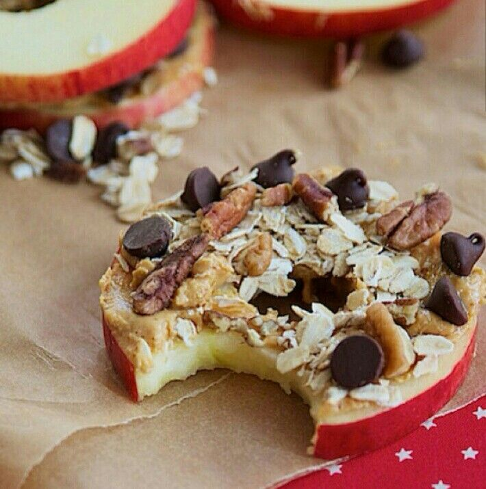 apple slice with peanut butter, oats, nuts and chocolate chips!!