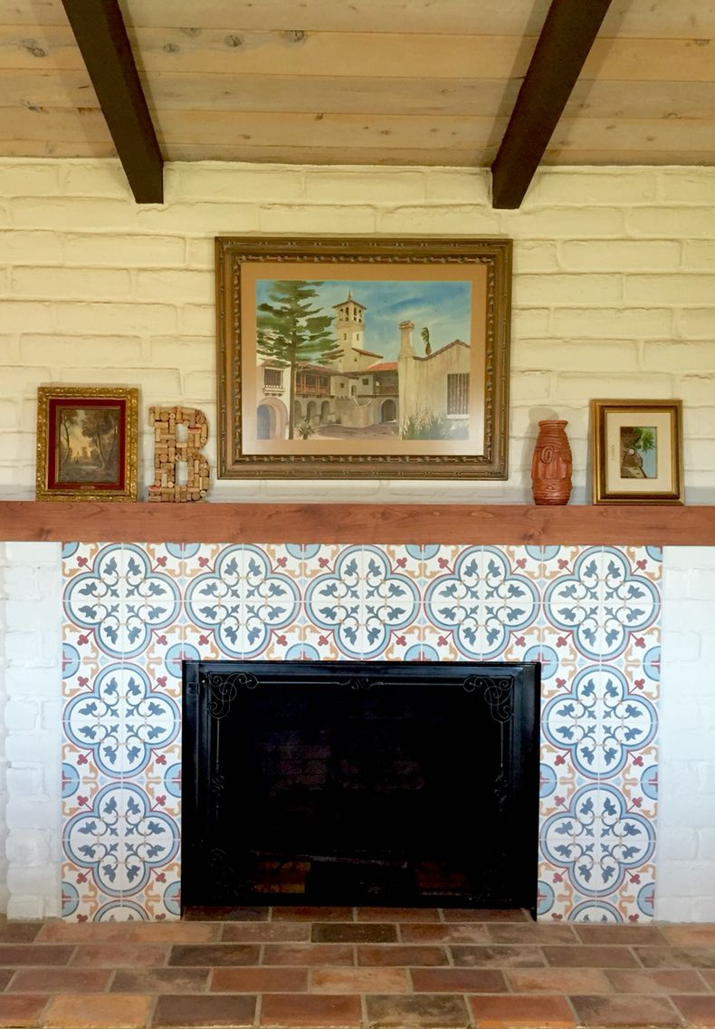 Spanish hacienda style cement tile fireplace and terra ...