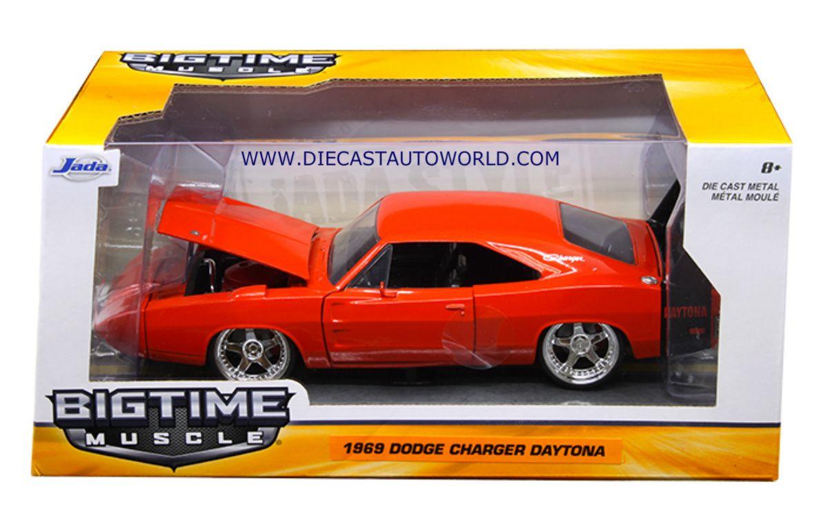 Diecast auto world jada 1 24 scale 1969 dodge charger daytona red orange diecast