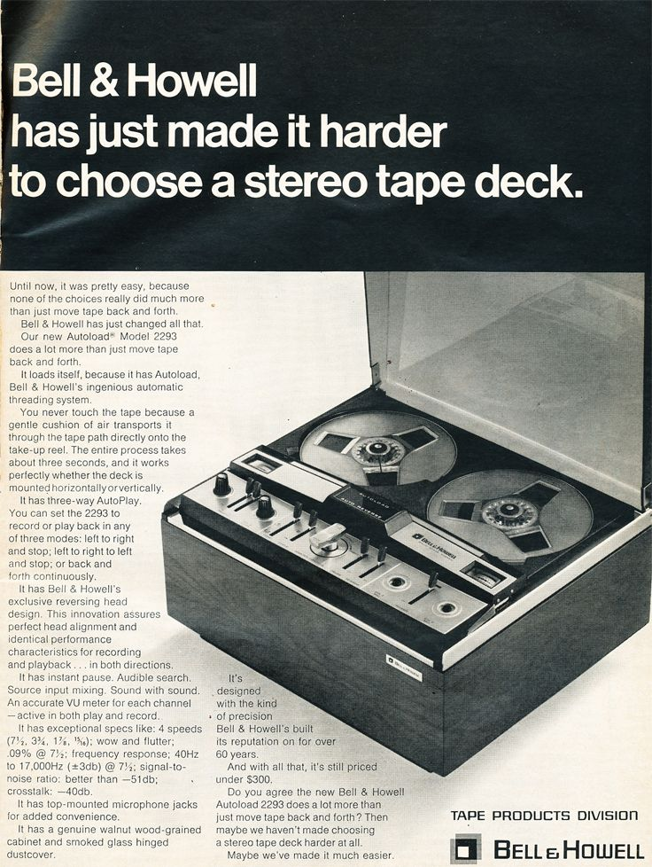 1969 Ad For The Bell Howell Vaccum Loading Reel To Reel Tape