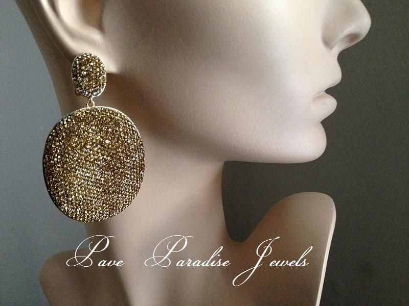 Paveparadise Jewels Crystal Luxury Designer Pave Disc Earrings Inspire Looking For This