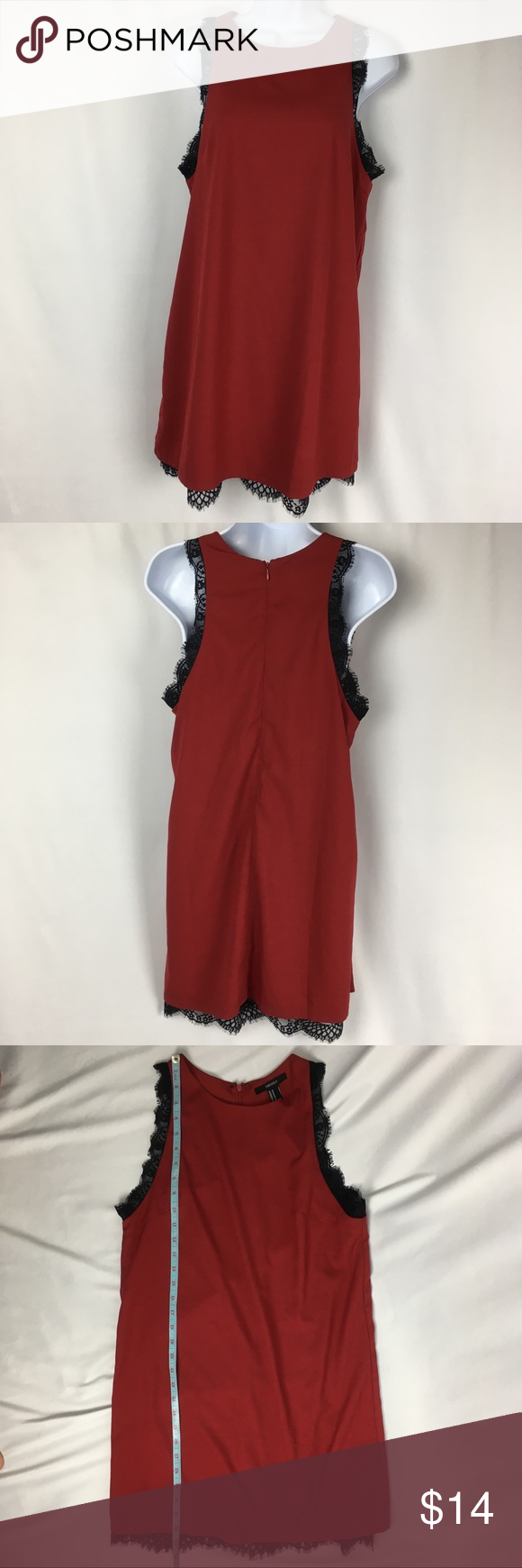 Nwt forever red dress with black lace trim nwt forever red
