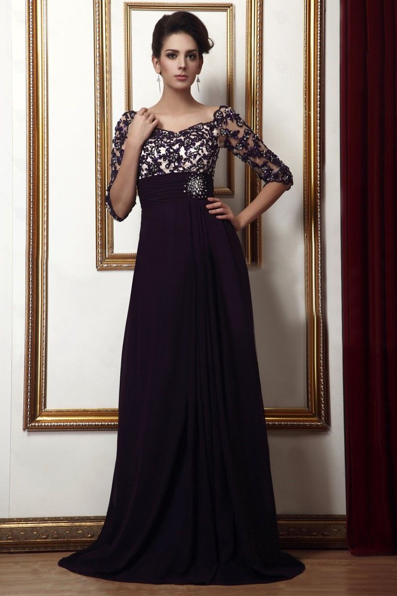 The dress empire - Plum Empire Waist Off The Shoulder Beading Half Long Sleeves Mother Of The Bride