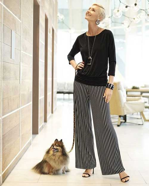 Striped Wide Legged Pants Outfit for Women Over 50 is part of Chicos fashion -