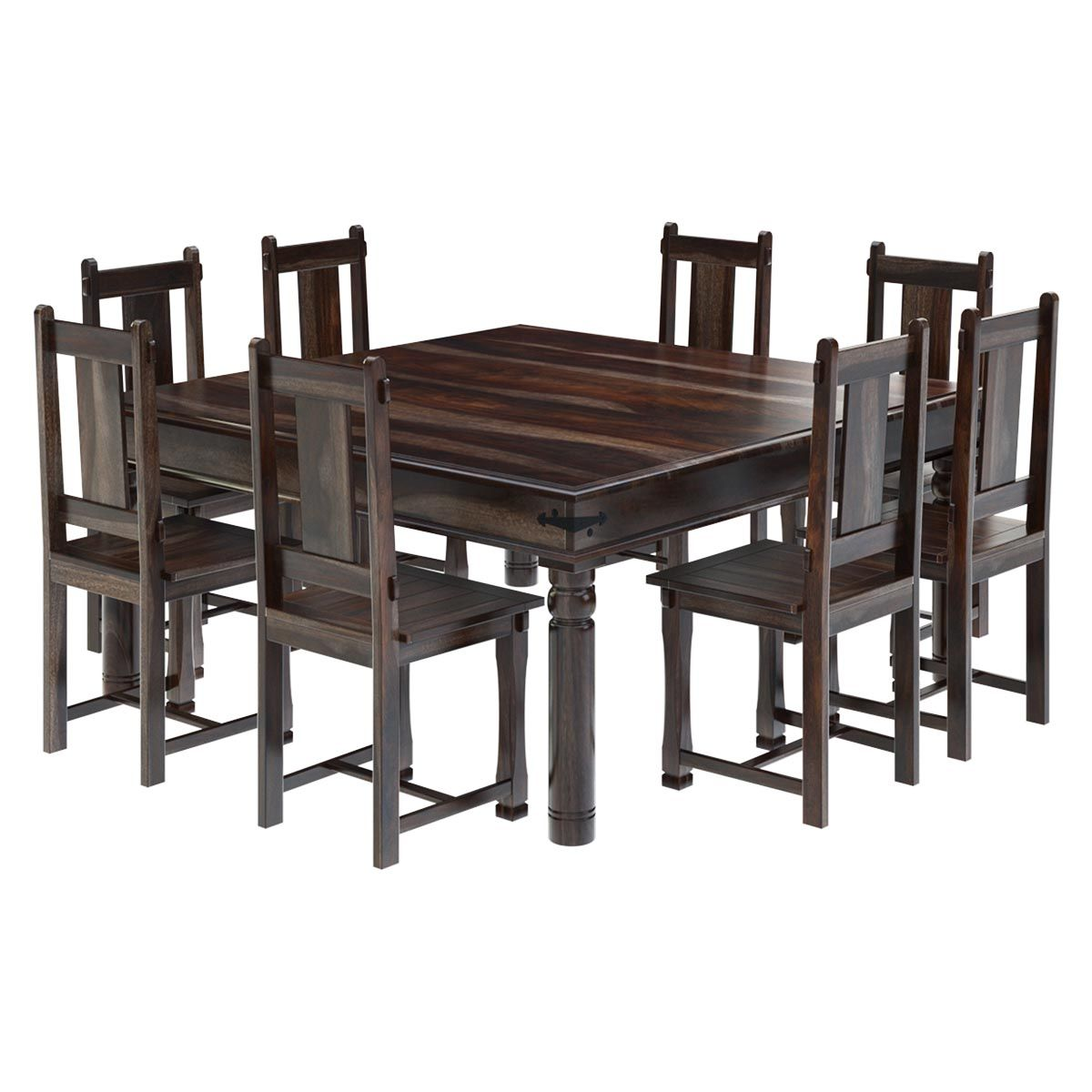 Adorn Your Dining Space With This Marvelous Richmond Rustic Solid Wood Large Square Room Table Chair SetThis Set Is Crafted Using
