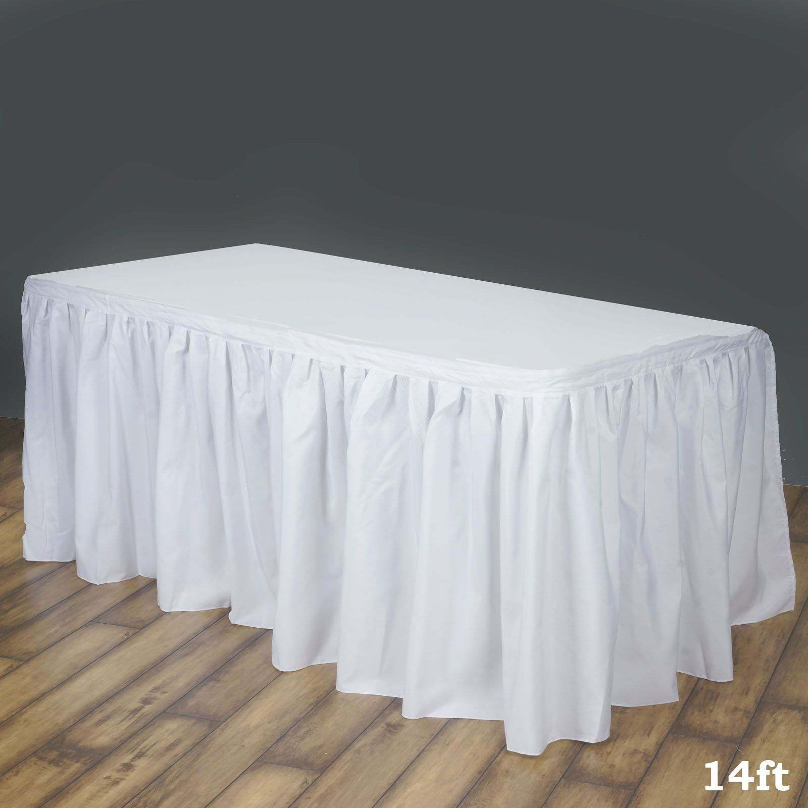 14FT White Pleated Polyester Table Skirt Table, Lace