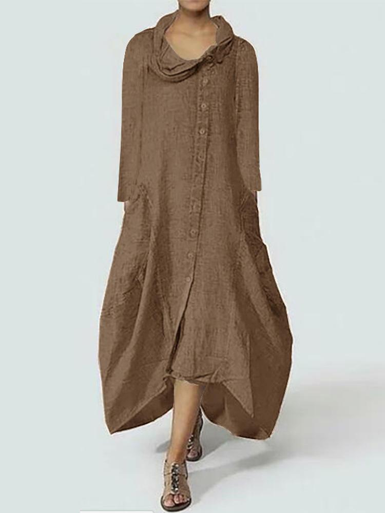 ZANZEA Women Cowl Neck Long Sleeve Cover Up Tunic Baggy Shirt Dress Coat Kaftan