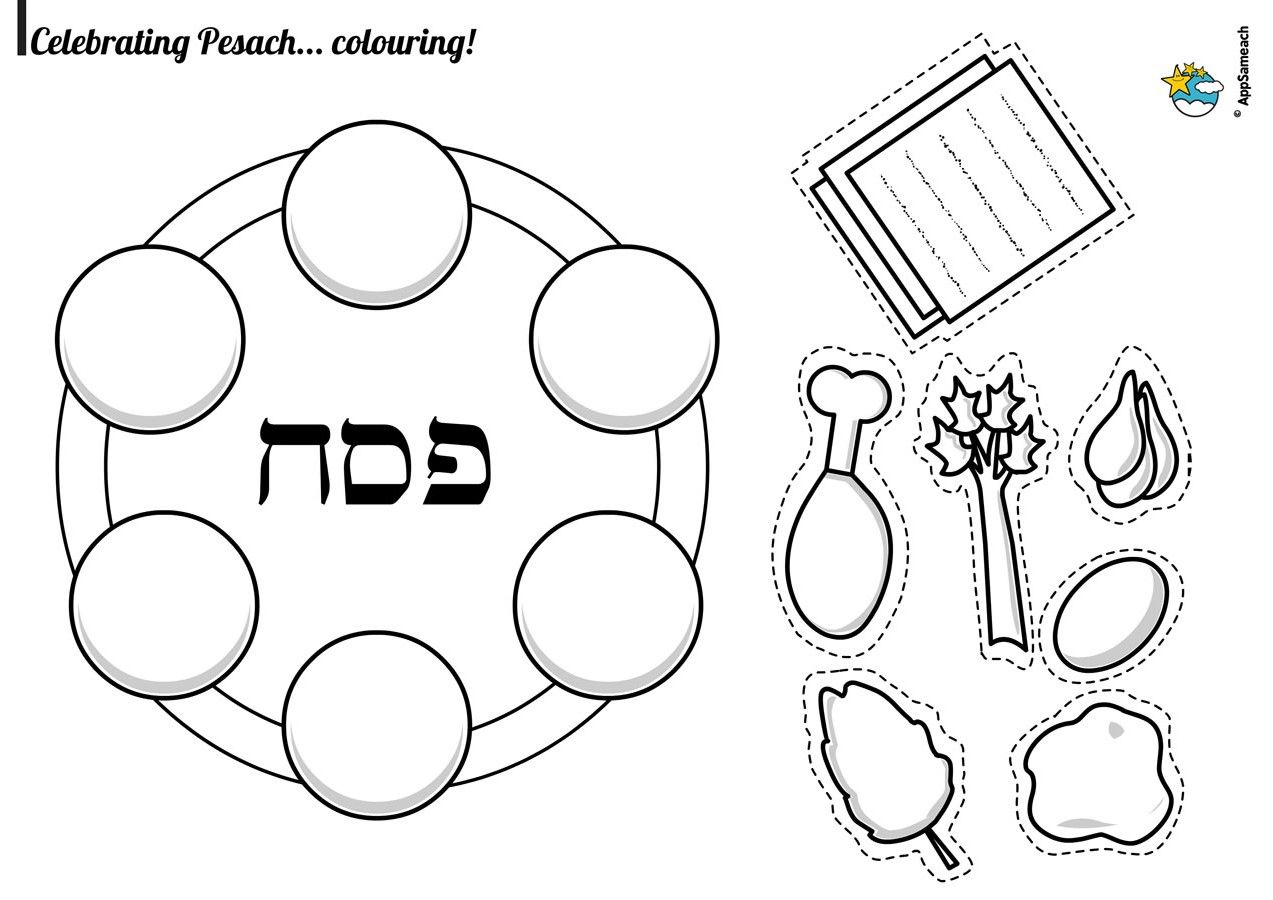 Passover Plate Coloring Page