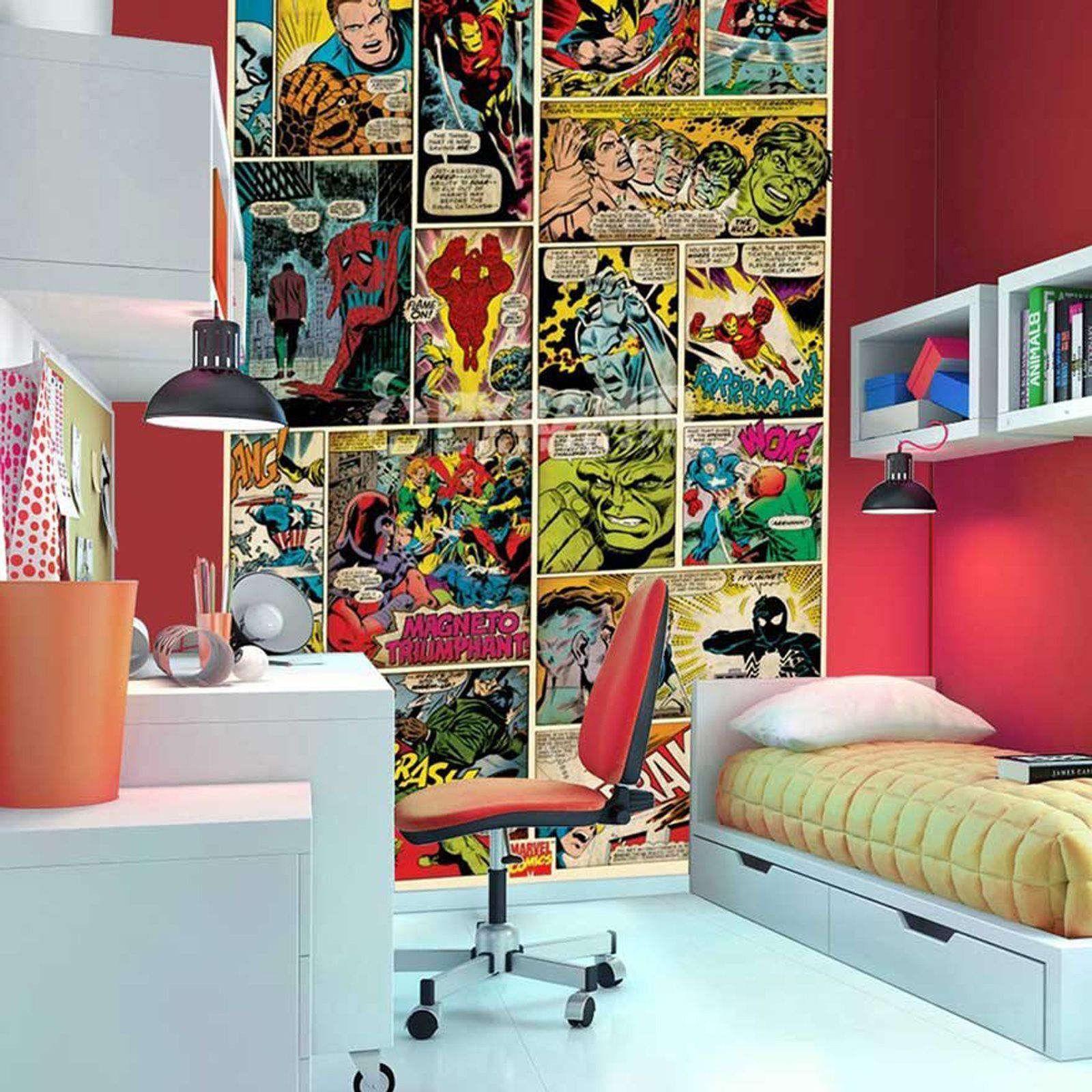 cool marvel wallpaper kids bedroom design inspiration with red wall rh pinterest com
