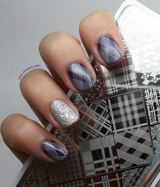 239 126cm Rectangle Nail Art Stamp Template Checked Design