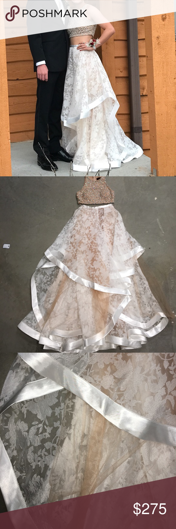 Terani couture prom dress two piece prom dress nude and white