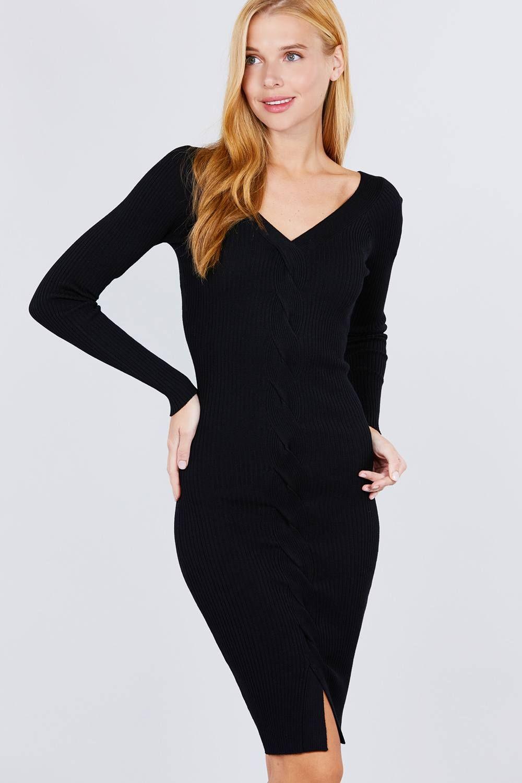 Imported S.M.L V-NECK TWIST DETAIL SWEATER DRESS 75% Rayon 25% Polyester Black ACT V-neck Twist Detail Sweater Dress split