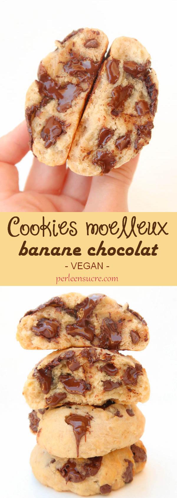 Cookies moelleux banane chocolat {vegan