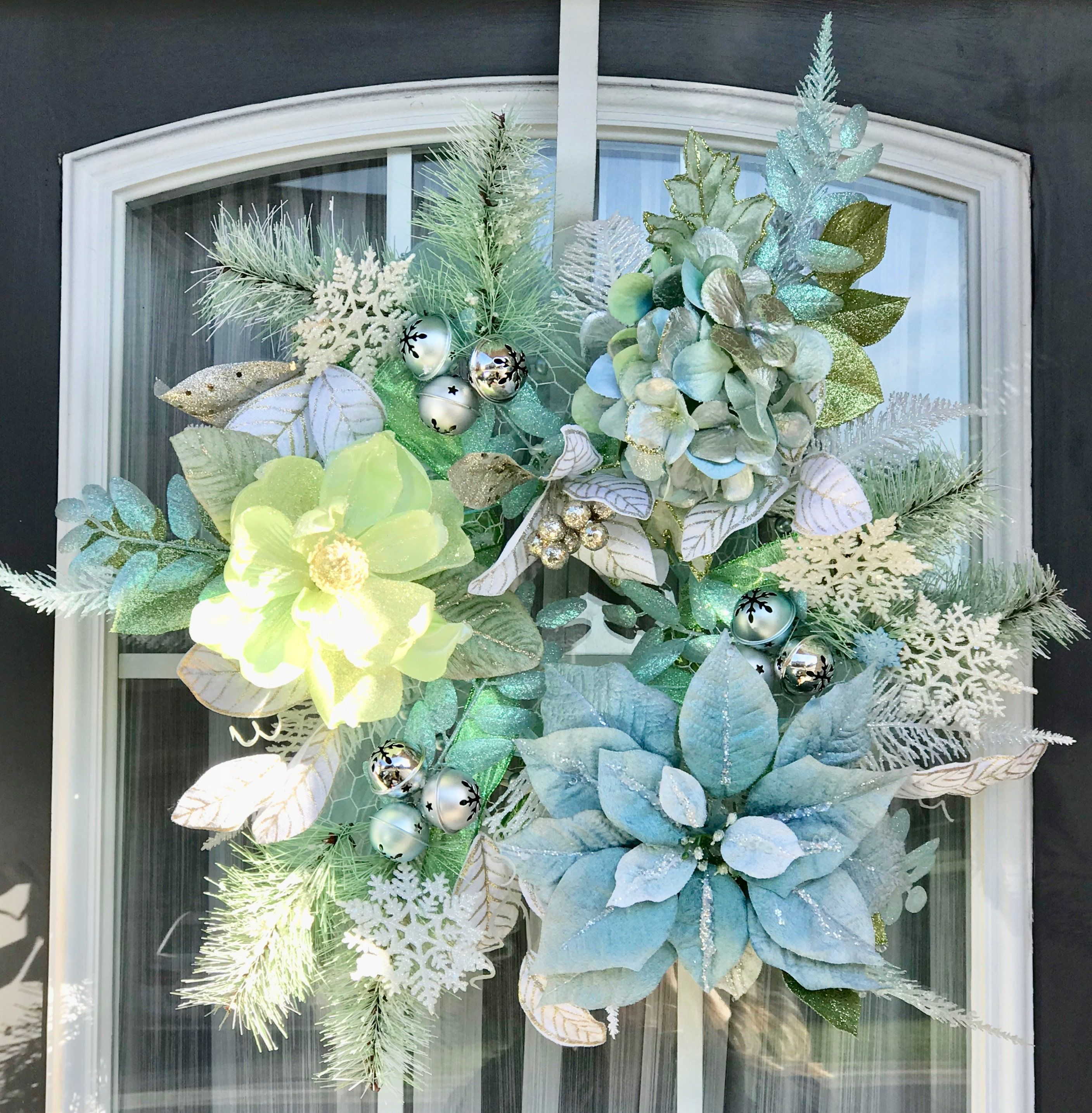 Light Blue and Green Christmas Wreath- Holiday Wreath- Frontdoor ...