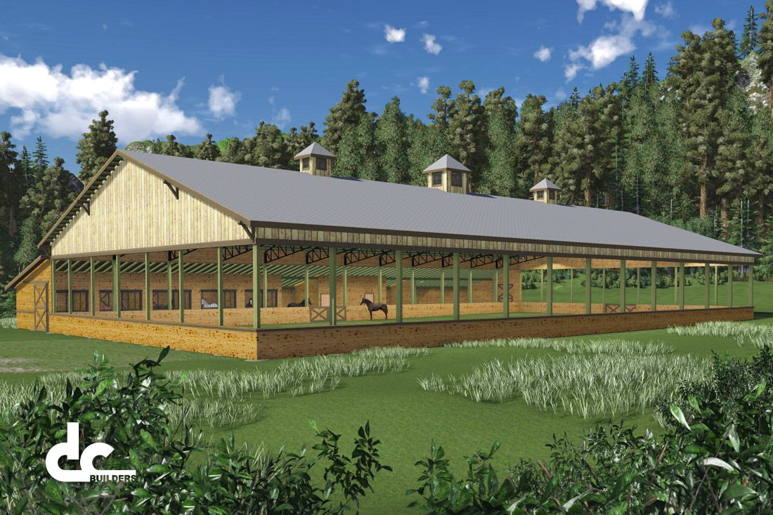 Plans for equestrian facility with 5 horse stalls barns for Equestrian barn plans