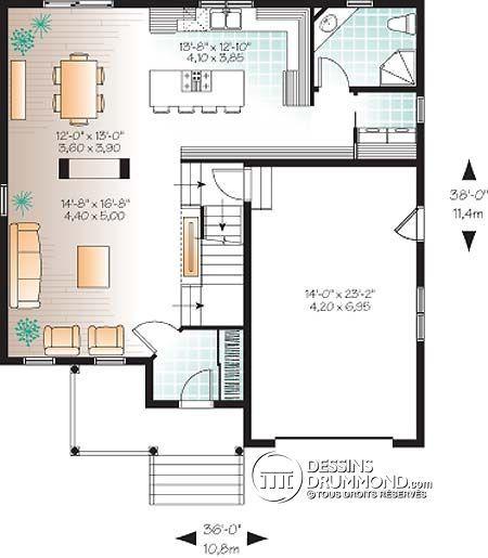 Détail du plan de Maison unifamiliale W3408-V1 maison de la