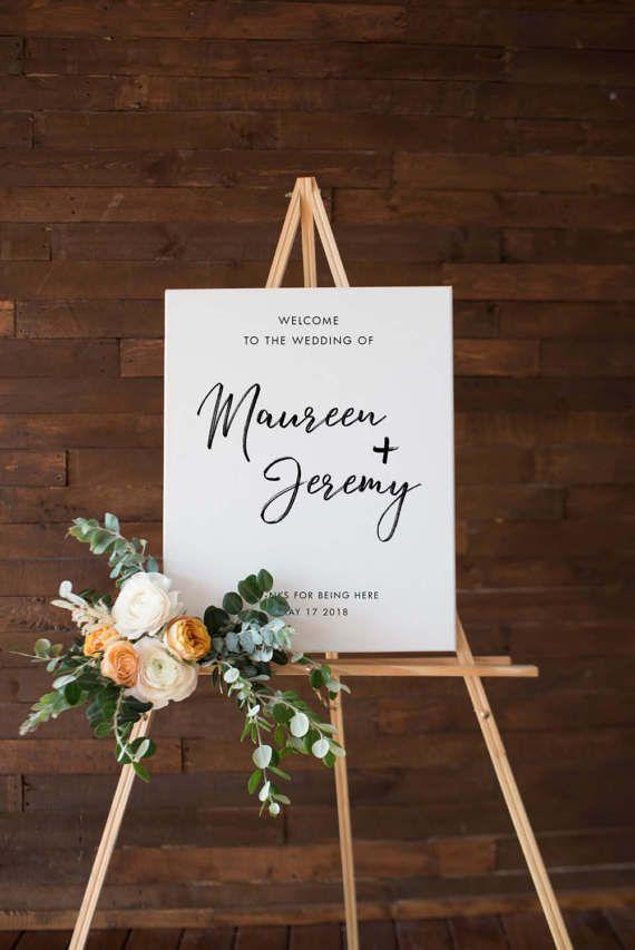 Printable Custom Wedding Sign Outdoor Poster Minimalist Modern White Design Names