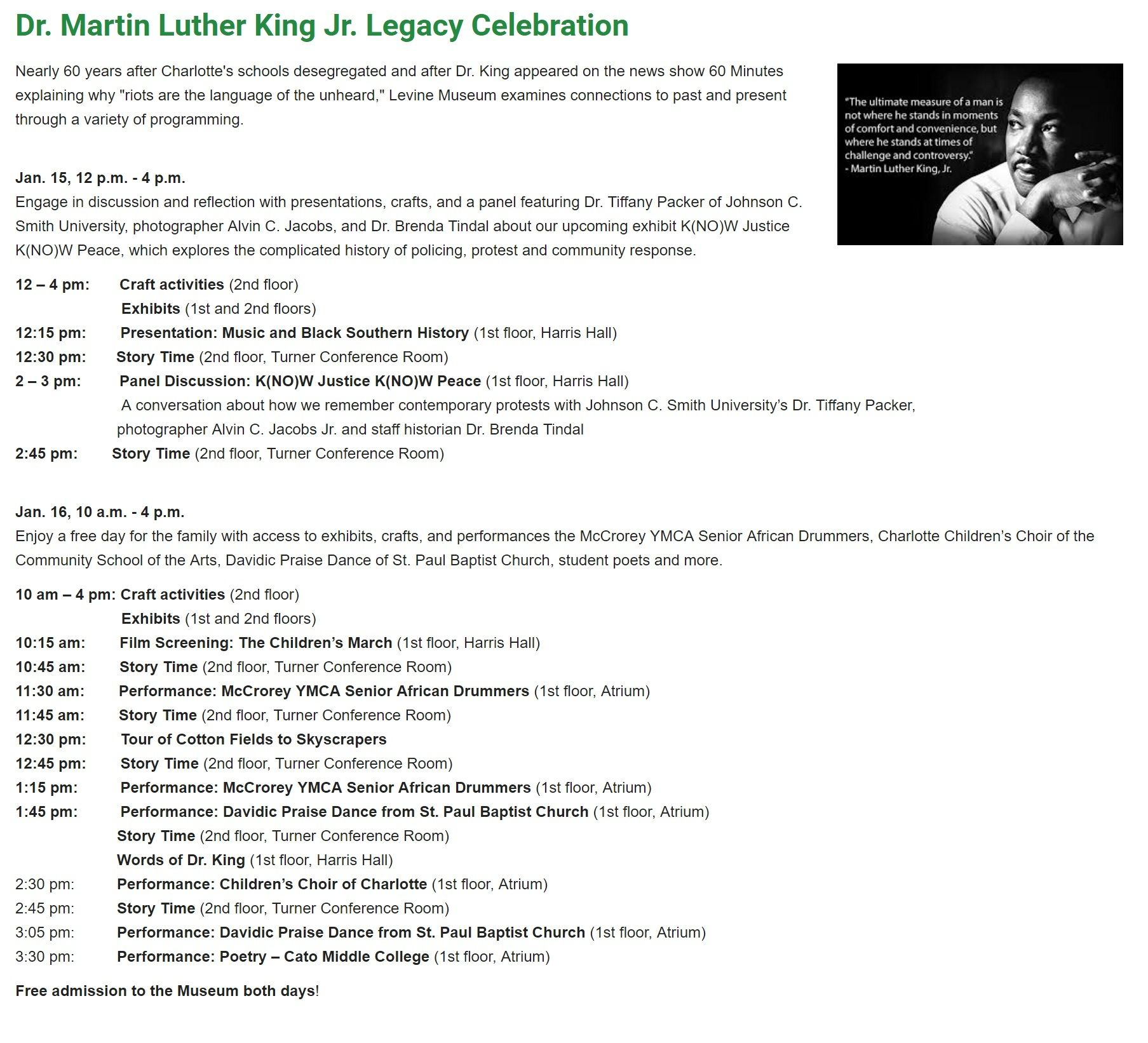 Charlotte S Levine Museum Honors Dr M L King Jr Dr Martin Luther King Dr Martin Luther King Jr Martin Luther Jr