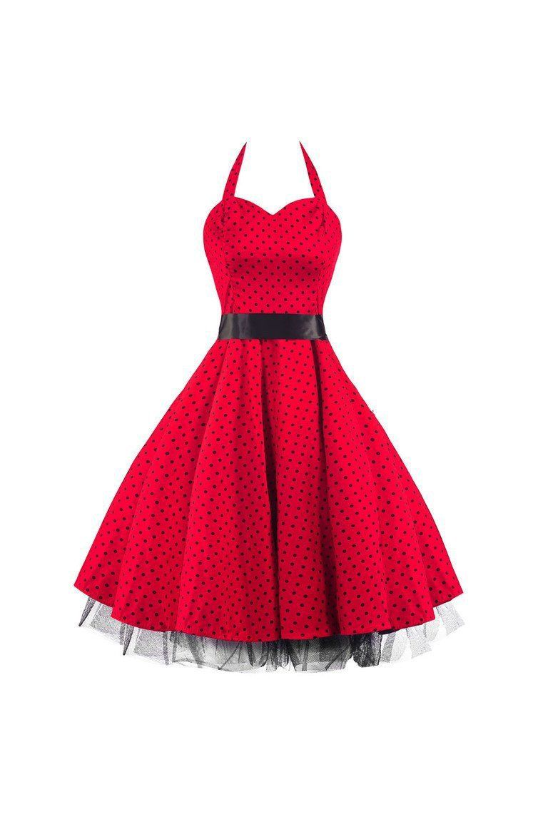 Red and black polka dot rockabilly s swing prom pinup dress