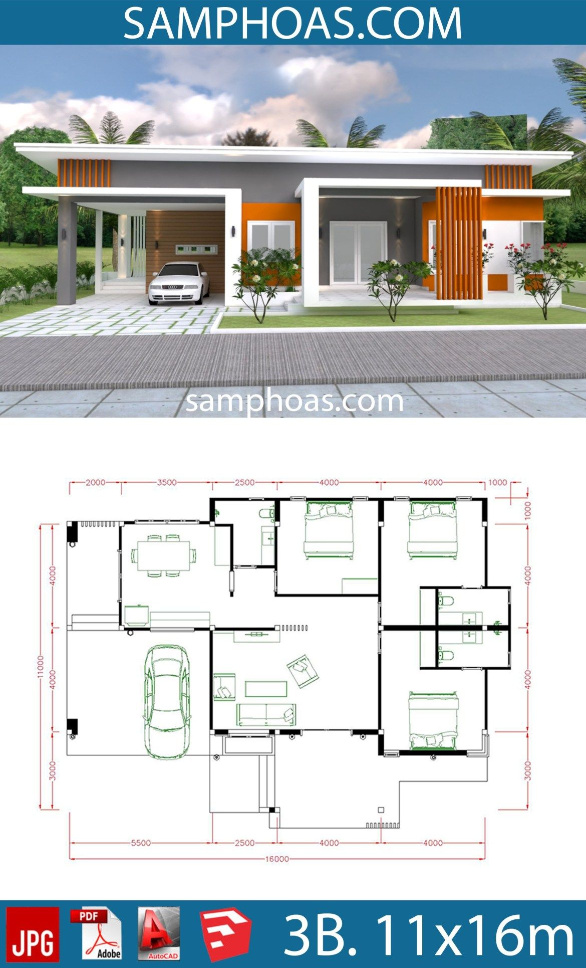 House Plan 11x16m With 3 Bedrooms Samphoas Plansearch Beautiful House Plans Modern Bungalow House House Plan Gallery