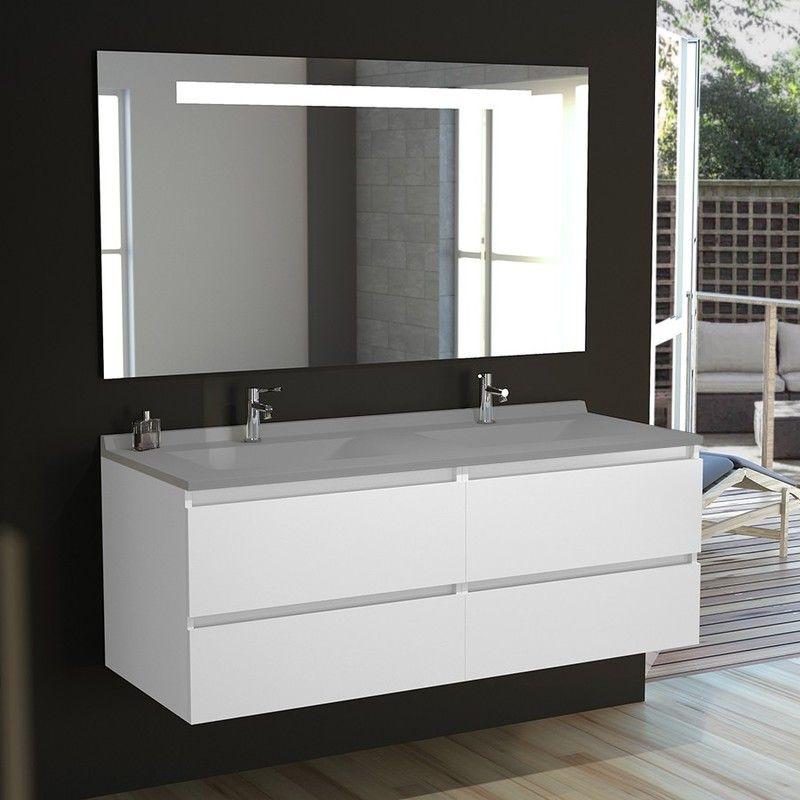 Meuble Double Vasque Arlequin 140x55 Cm Avec Plan Vasque Et Miroir Elegance Coloris Au Choix Gris Gris Beton I Arl02mi G140bl Ch Bathroom Double Vanity Furniture
