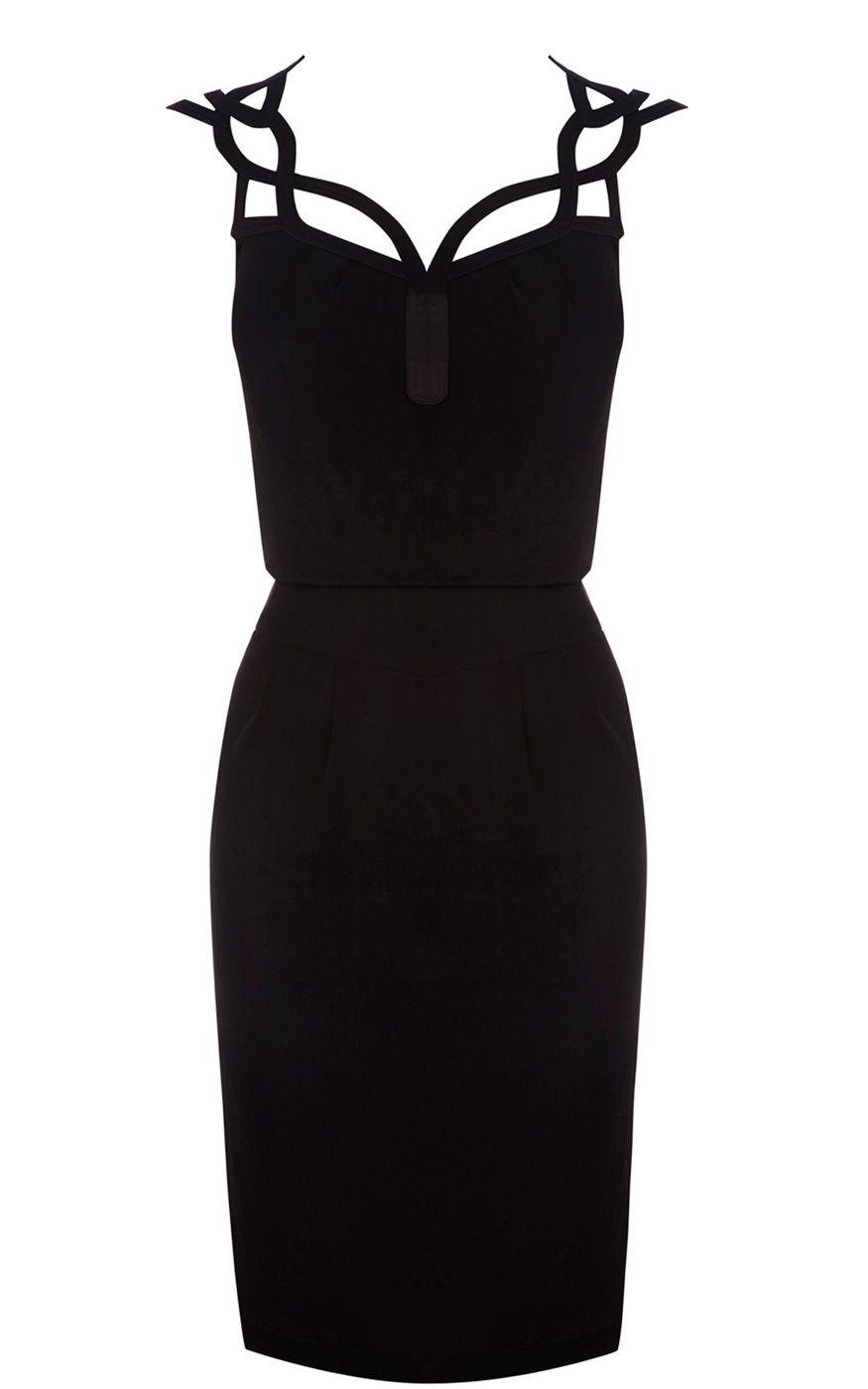 Black dress karen millen - Karen Millen Graphic Cutwork Dress Black Fashion Karen Millen Solid Color Dresses Outlet